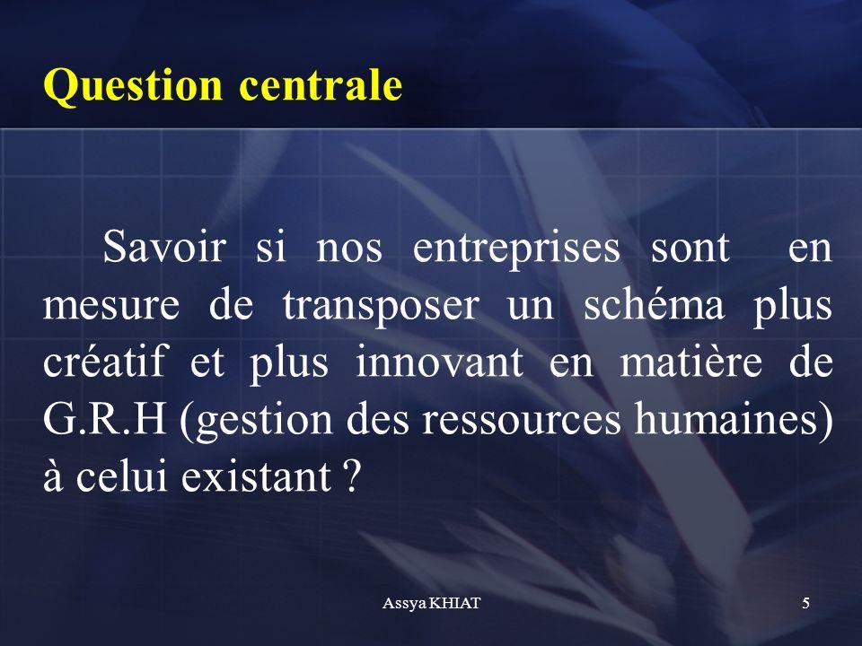 Question centrale Savoir si nos entreprises sont en mesure de transposer un schéma plus créatif et plus innovant en matière de G.R.H (gestion des ressources humaines) à celui existant .