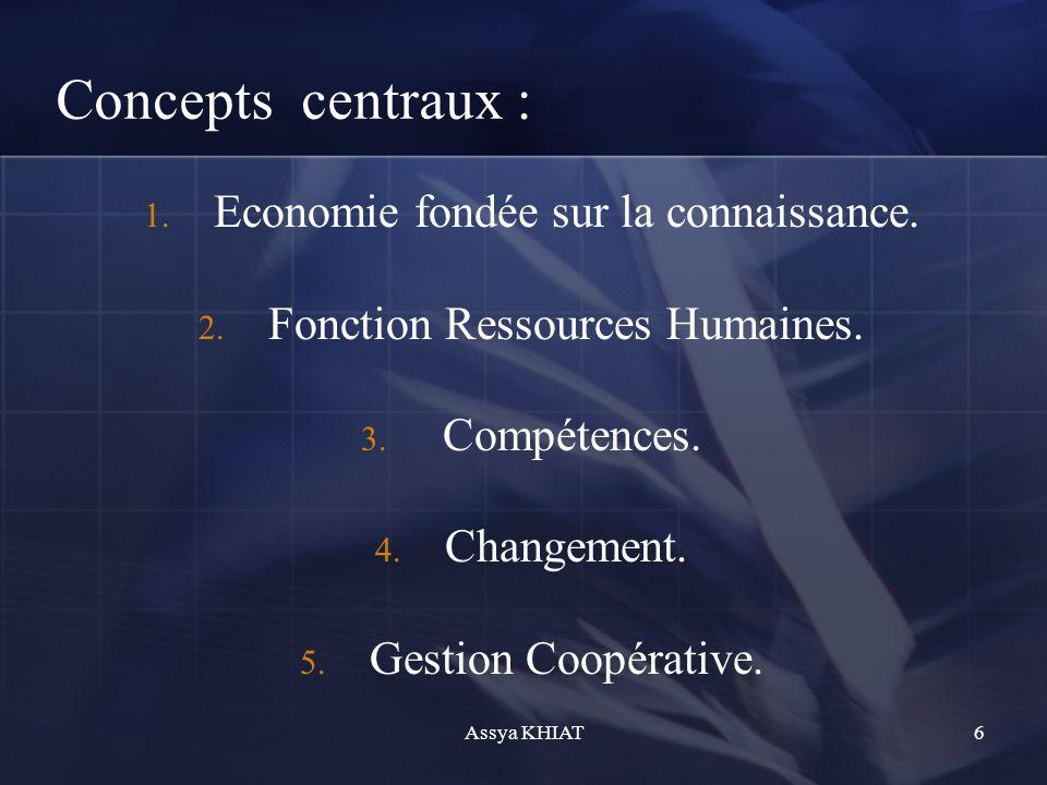 Concepts centraux : 1.Economie fondée sur la connaissance.