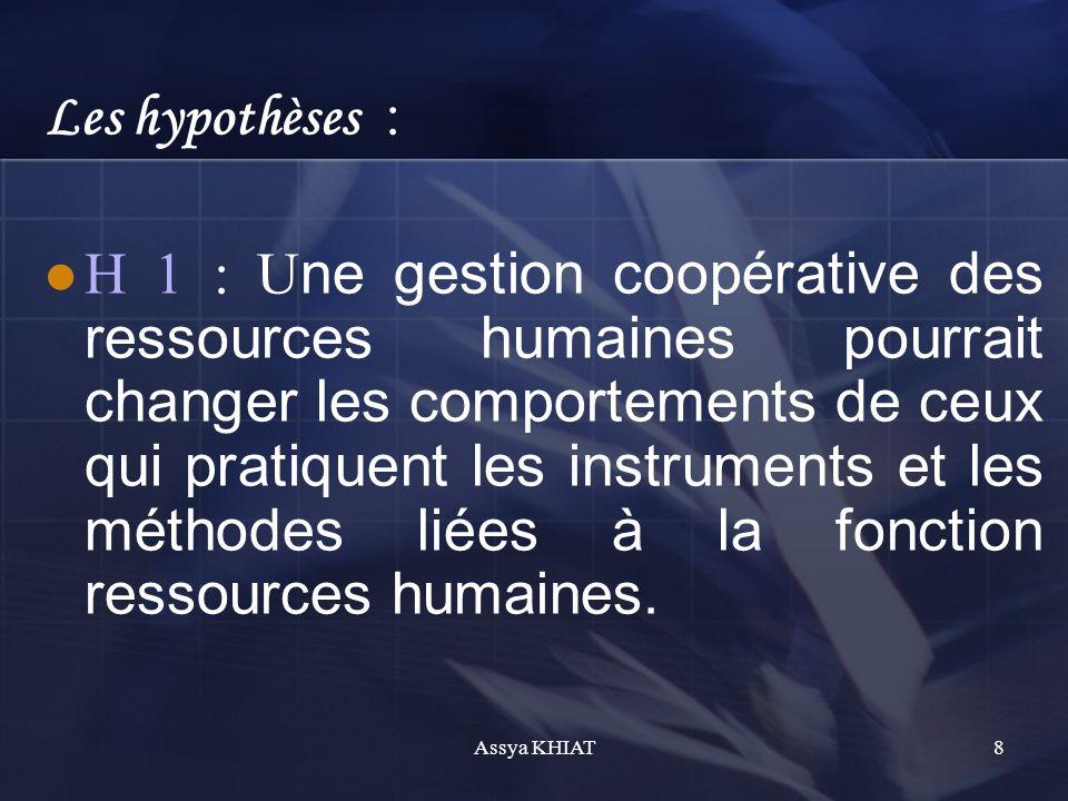 Les hypothèses : H 1 : U ne gestion coopérative des ressources humaines pourrait changer les comportements de ceux qui pratiquent les instruments et les méthodes liées à la fonction ressources humaines.