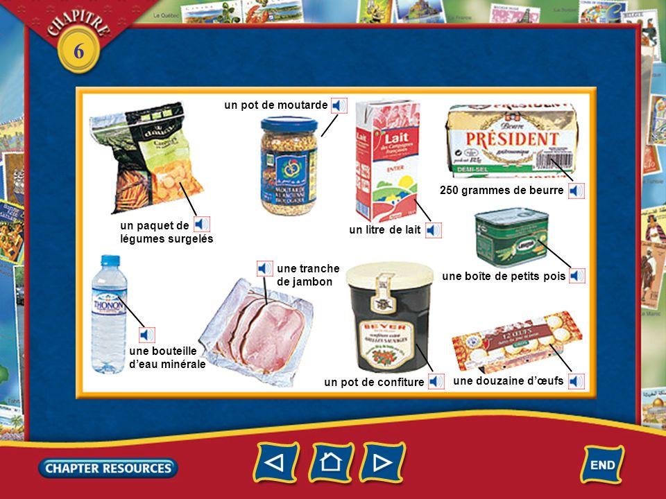 6 Julien et son frère sont au supermarché. Julien veut acheter de leau minérale et du lait. Il achète une bouteille deau minérale et un litre de lait.