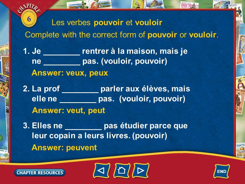 6 Les verbes pouvoir et vouloir 2. In the negative, you put ne… pas around the verbs pouvoir and vouloir. Je ne veux pas manger de frites. Ils ne peuv