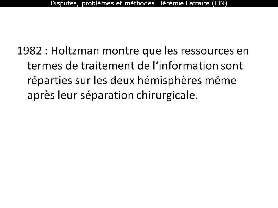 Disputes, problèmes et méthodes. Jérémie Lafraire (IJN) 1982 : Holtzman montre que les ressources en termes de traitement de linformation sont réparti