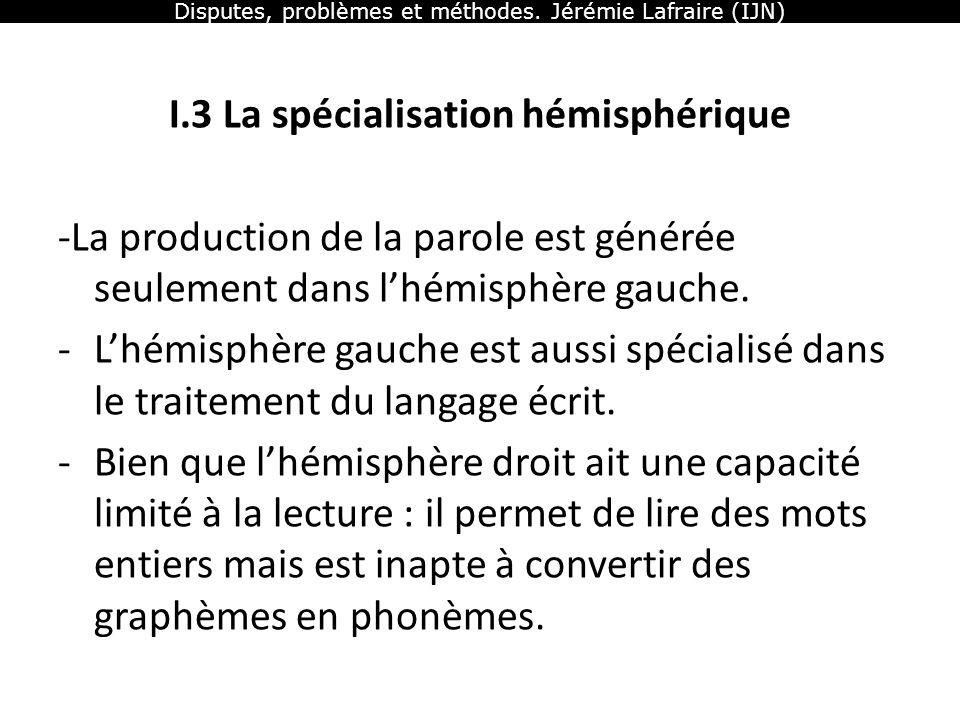 Disputes, problèmes et méthodes. Jérémie Lafraire (IJN) I.3 La spécialisation hémisphérique -La production de la parole est générée seulement dans lhé