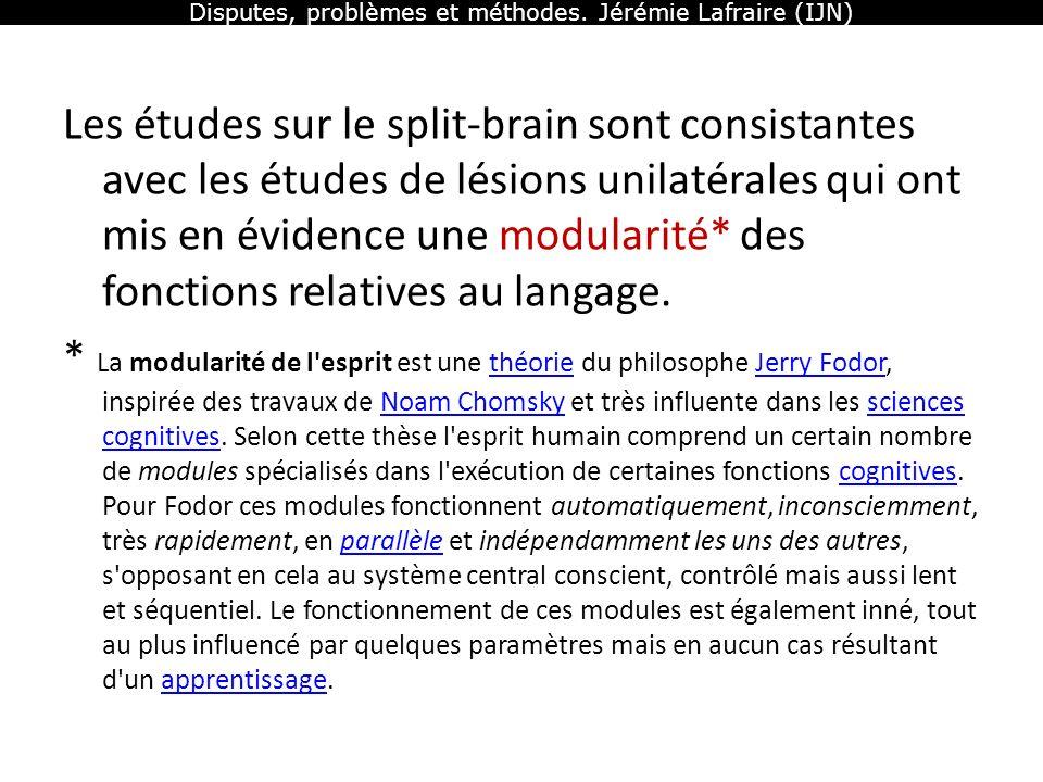 Disputes, problèmes et méthodes. Jérémie Lafraire (IJN) Les études sur le split-brain sont consistantes avec les études de lésions unilatérales qui on