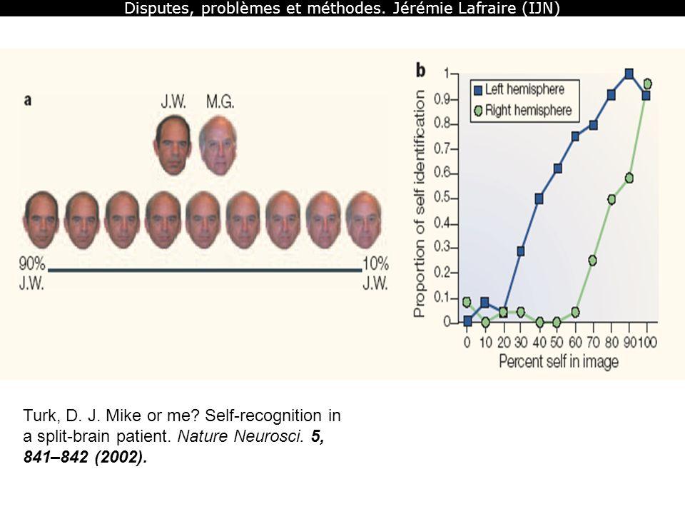 Disputes, problèmes et méthodes. Jérémie Lafraire (IJN) Turk, D. J. Mike or me? Self-recognition in a split-brain patient. Nature Neurosci. 5, 841–842