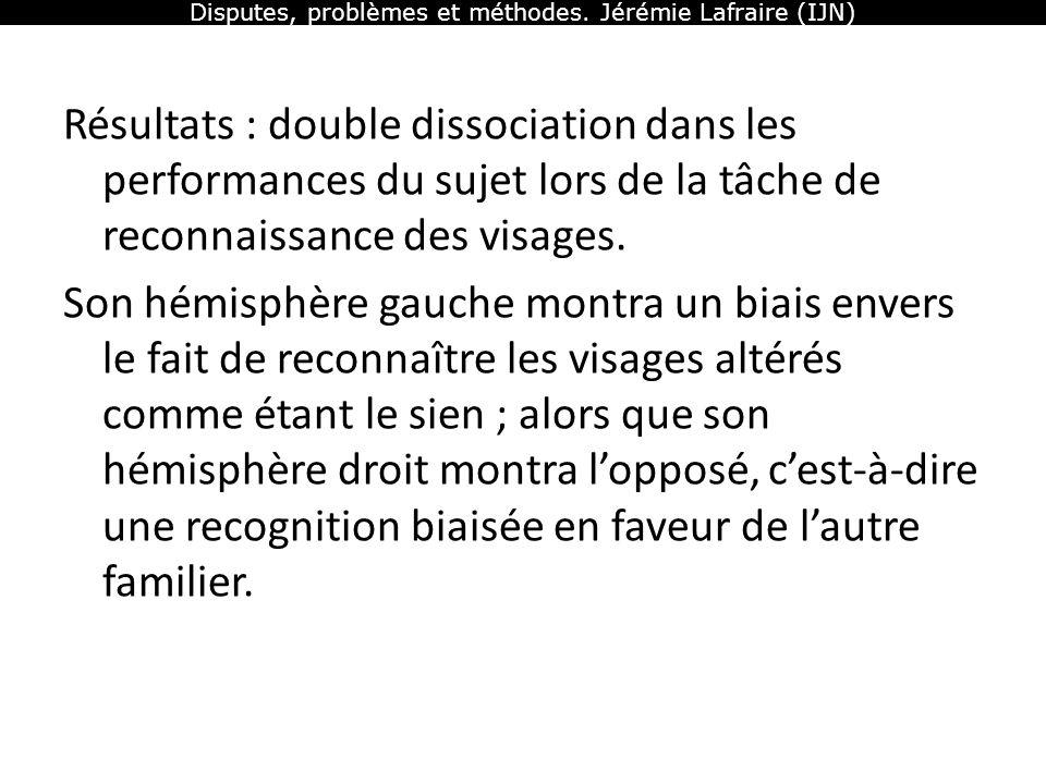 Disputes, problèmes et méthodes. Jérémie Lafraire (IJN) Résultats : double dissociation dans les performances du sujet lors de la tâche de reconnaissa