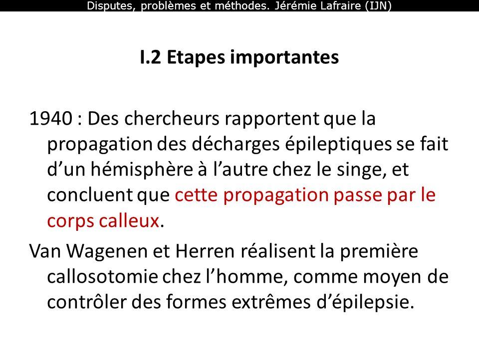 Disputes, problèmes et méthodes. Jérémie Lafraire (IJN) I.2 Etapes importantes 1940 : Des chercheurs rapportent que la propagation des décharges épile
