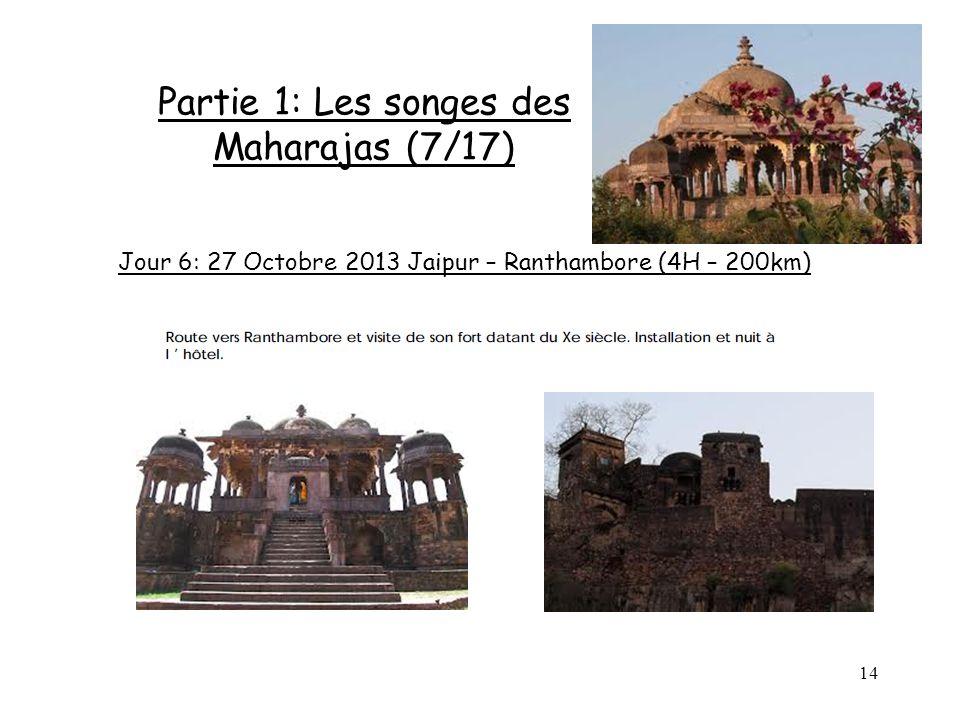 14 Partie 1: Les songes des Maharajas (7/17) Jour 6: 27 Octobre 2013 Jaipur – Ranthambore (4H – 200km)