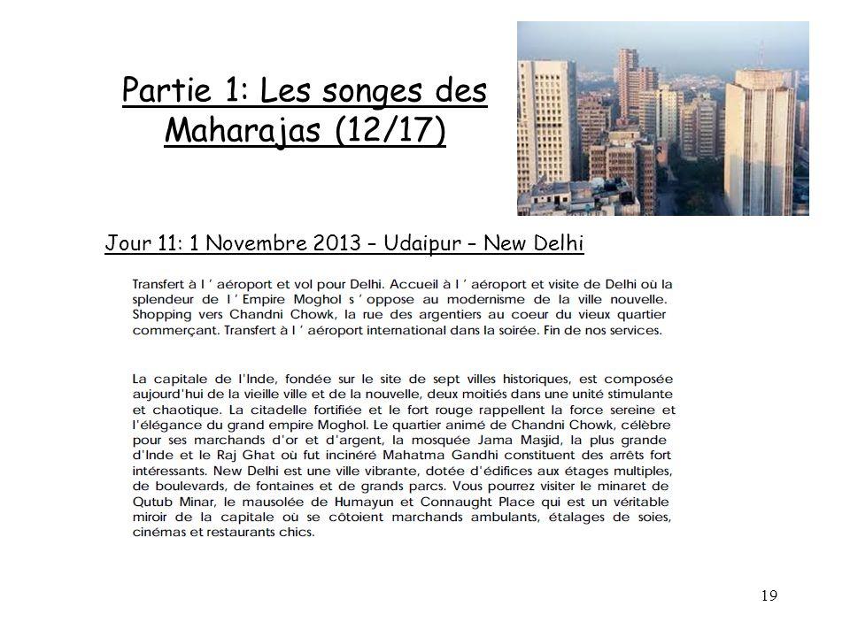 19 Partie 1: Les songes des Maharajas (12/17) Jour 11: 1 Novembre 2013 – Udaipur – New Delhi
