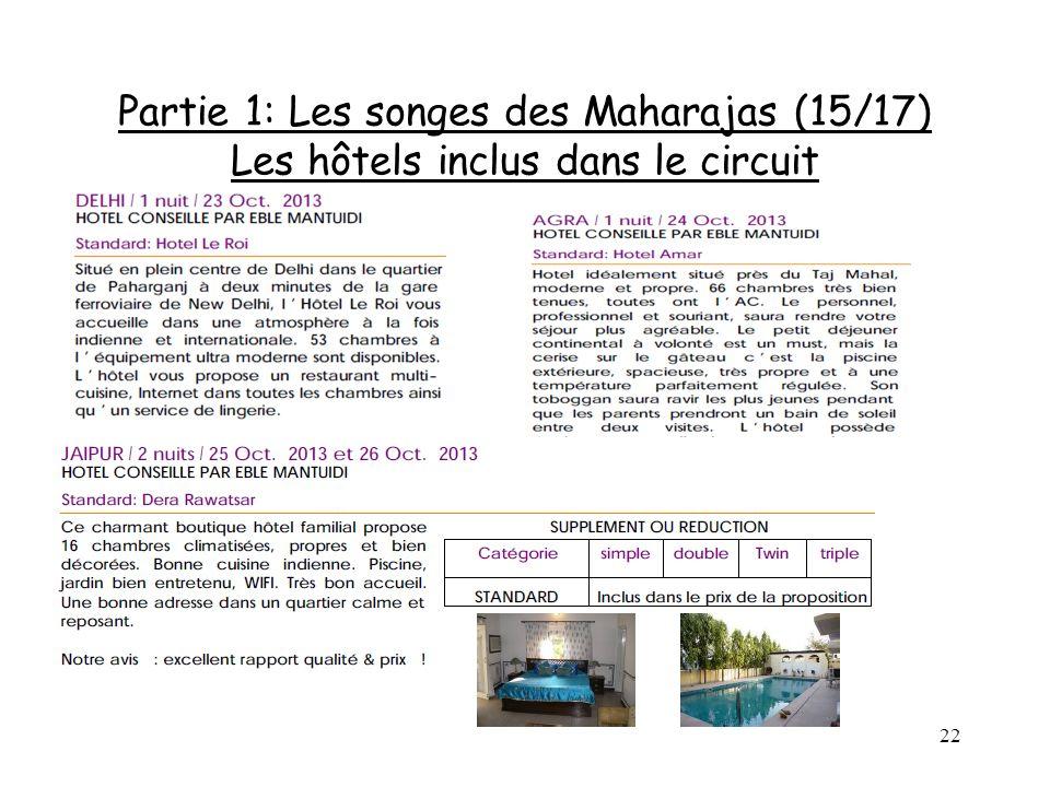 22 Partie 1: Les songes des Maharajas (15/17) Les hôtels inclus dans le circuit