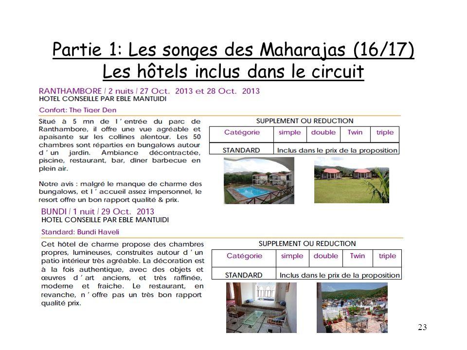 23 Partie 1: Les songes des Maharajas (16/17) Les hôtels inclus dans le circuit