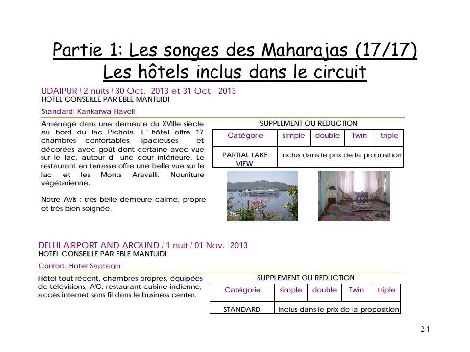 24 Partie 1: Les songes des Maharajas (17/17) Les hôtels inclus dans le circuit