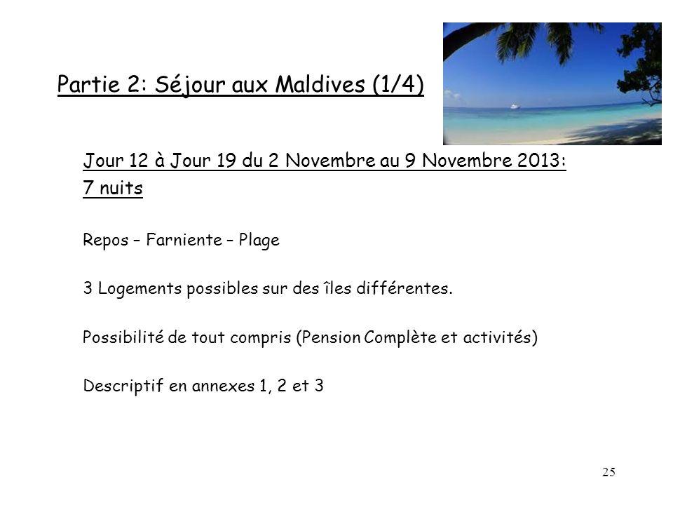 25 Partie 2: Séjour aux Maldives (1/4) Jour 12 à Jour 19 du 2 Novembre au 9 Novembre 2013: 7 nuits Repos – Farniente – Plage 3 Logements possibles sur