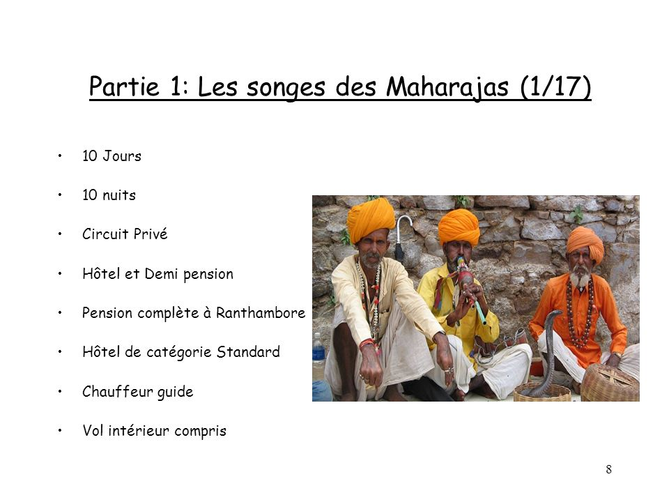 8 Partie 1: Les songes des Maharajas (1/17) 10 Jours 10 nuits Circuit Privé Hôtel et Demi pension Pension complète à Ranthambore Hôtel de catégorie St