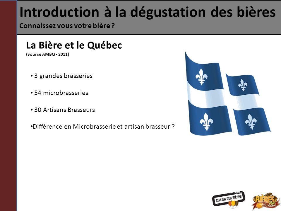Introduction à la dégustation des bières Connaissez vous votre bière ? La Bière et le Québec (Source AMBQ - 2011) 3 grandes brasseries 54 microbrasser