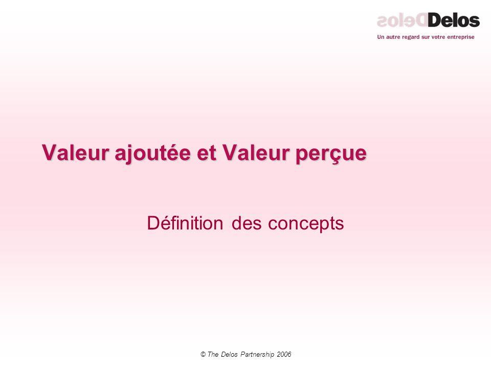 © The Delos Partnership 2006 Valeur ajoutée et Valeur perçue Définition des concepts