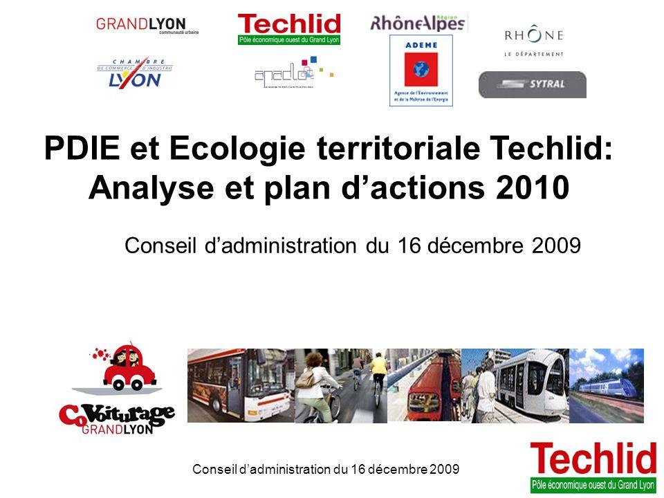 1 PDIE TECHLID version du 06/11/2013 13:00 Conseil dadministration du 16 décembre 2009 PDIE et Ecologie territoriale Techlid: Analyse et plan dactions
