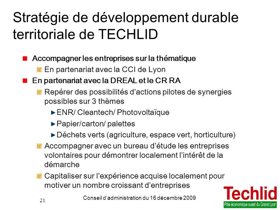 21 PDIE TECHLID version du 06/11/2013 13:00 Conseil dadministration du 16 décembre 2009 21 Stratégie de développement durable territoriale de TECHLID