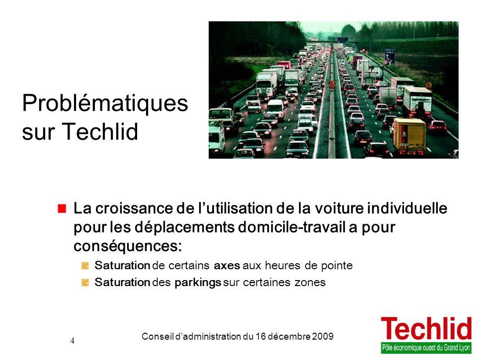 4 PDIE TECHLID version du 06/11/2013 13:00 Conseil dadministration du 16 décembre 2009 4 Problématiques sur Techlid La croissance de lutilisation de l