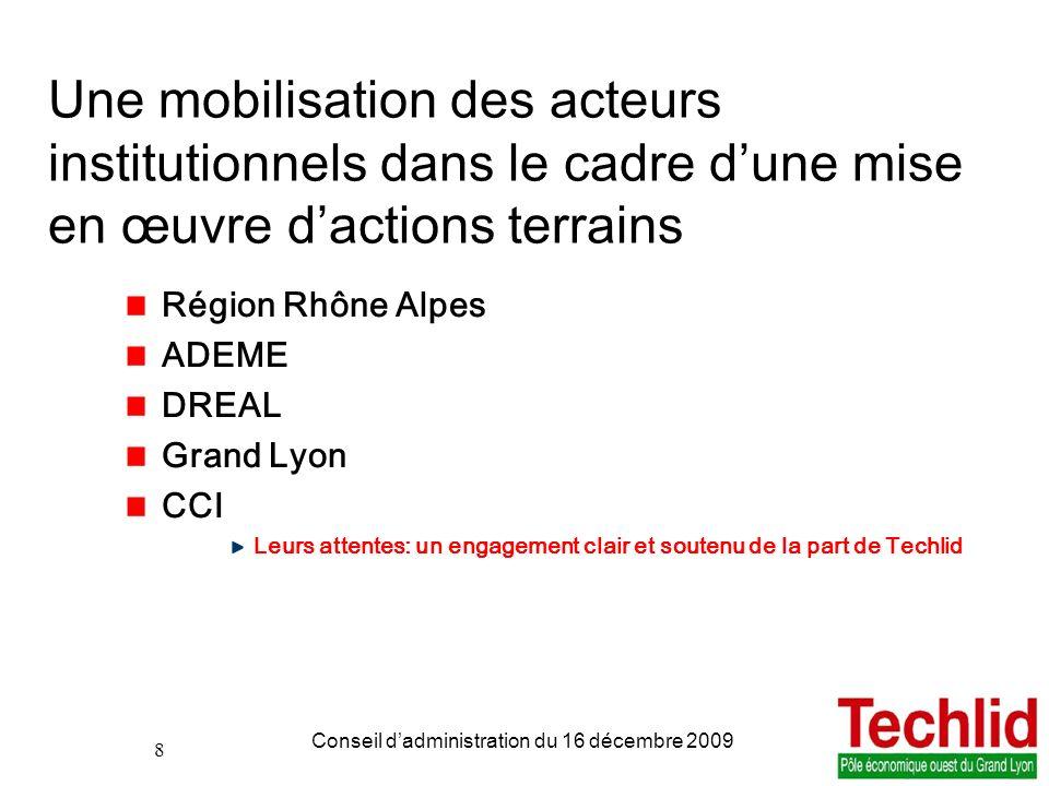 8 PDIE TECHLID version du 06/11/2013 13:00 Conseil dadministration du 16 décembre 2009 8 Une mobilisation des acteurs institutionnels dans le cadre du