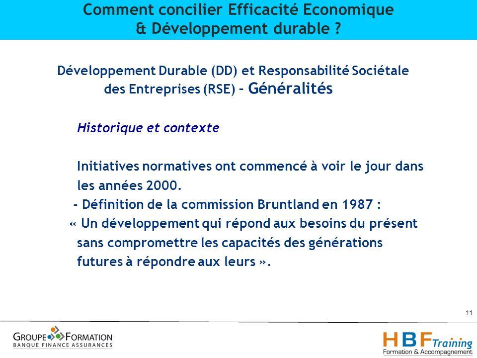 Développement Durable (DD) et Responsabilité Sociétale des Entreprises (RSE) – Généralités Historique et contexte Initiatives normatives ont commencé