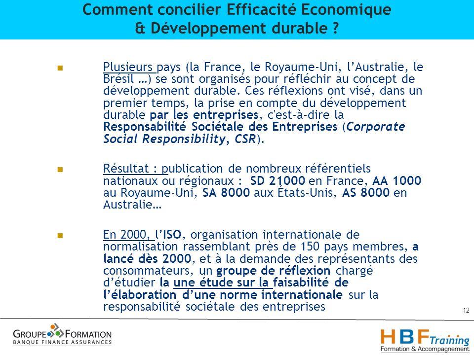 Plusieurs pays (la France, le Royaume-Uni, lAustralie, le Brésil …) se sont organisés pour réfléchir au concept de développement durable. Ces réflexio