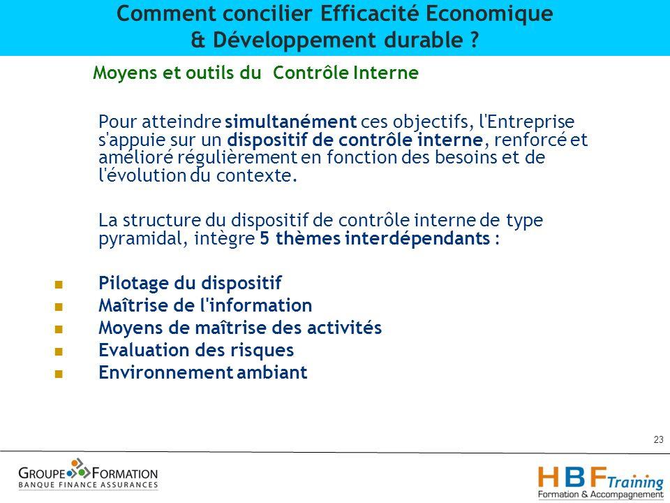 Moyens et outils du Contrôle Interne Pour atteindre simultanément ces objectifs, l'Entreprise s'appuie sur un dispositif de contrôle interne, renforcé
