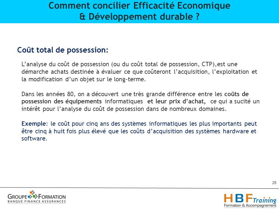 28 Comment concilier Efficacité Economique & Développement durable ? Coût total de possession: Lanalyse du coût de possession (ou du coût total de pos