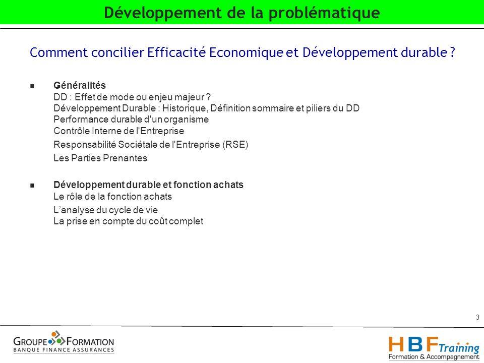 Comment concilier Efficacité Economique et Développement durable .