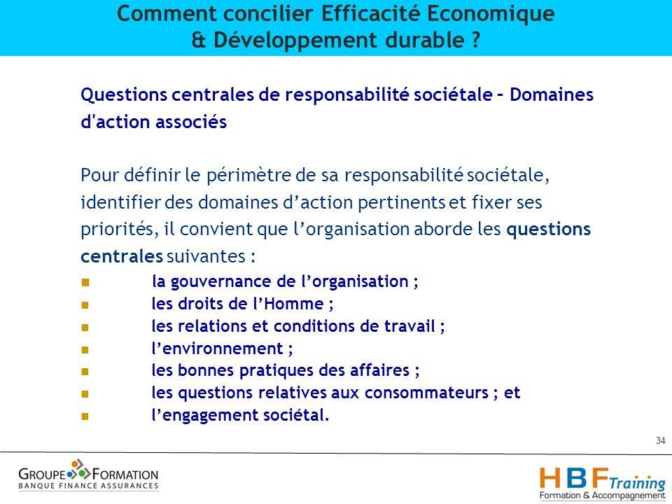 Questions centrales de responsabilité sociétale – Domaines d'action associés Pour définir le périmètre de sa responsabilité sociétale, identifier des