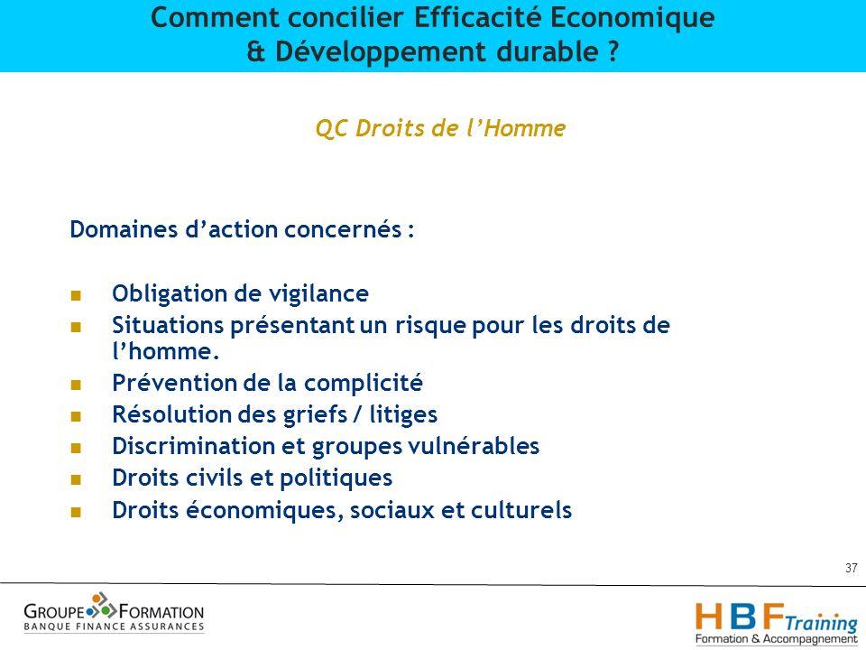 QC Droits de lHomme Domaines daction concernés : Obligation de vigilance Situations présentant un risque pour les droits de lhomme. Prévention de la c