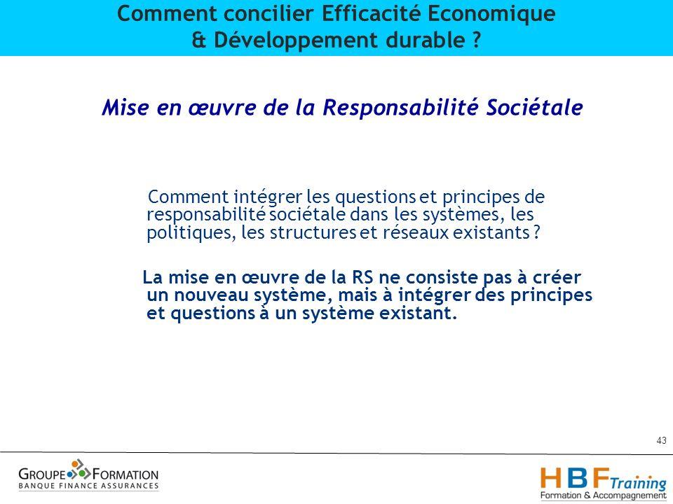 Mise en œuvre de la Responsabilité Sociétale Comment intégrer les questions et principes de responsabilité sociétale dans les systèmes, les politiques