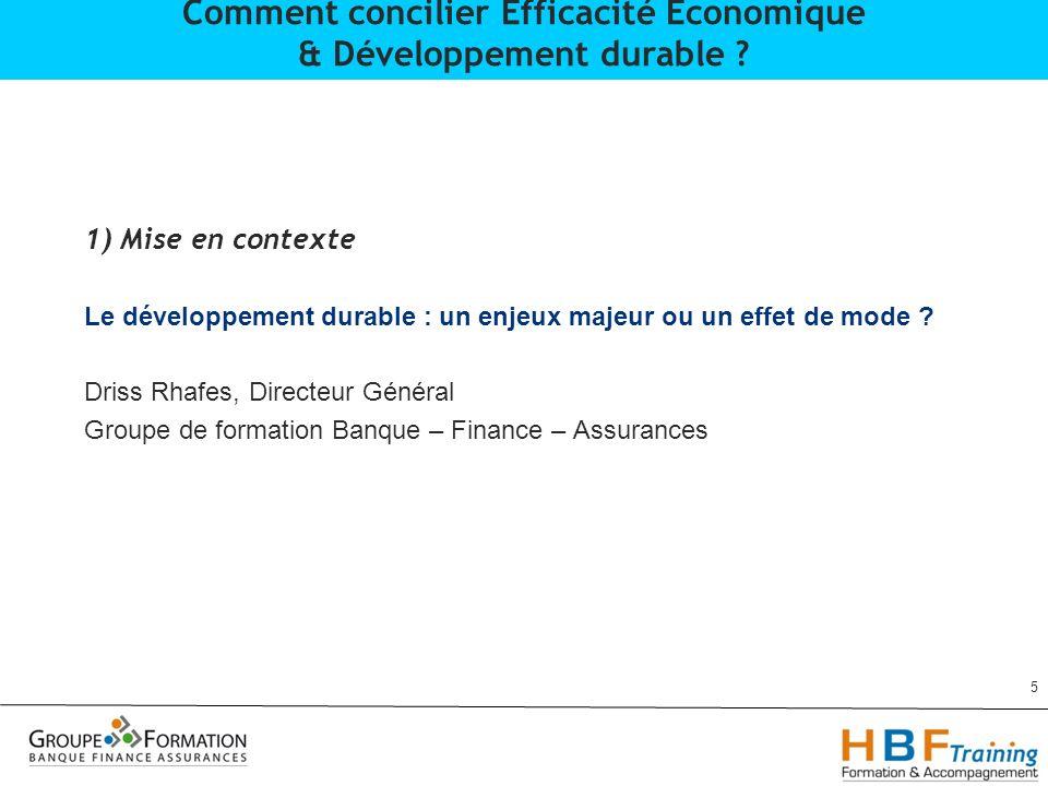 1) Mise en contexte Le développement durable : un enjeux majeur ou un effet de mode ? Driss Rhafes, Directeur Général Groupe de formation Banque – Fin