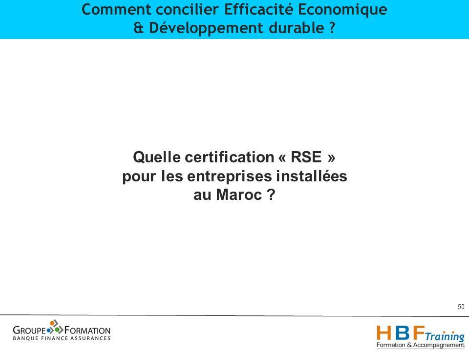 50 Comment concilier Efficacité Economique & Développement durable ? Quelle certification « RSE » pour les entreprises installées au Maroc ?