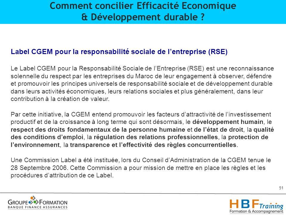 51 Comment concilier Efficacité Economique & Développement durable ? Label CGEM pour la responsabilité sociale de lentreprise (RSE) Le Label CGEM pour