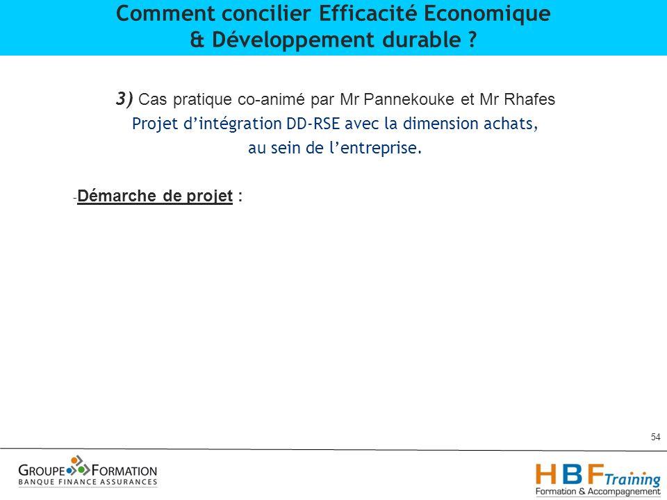 3) Cas pratique co-animé par Mr Pannekouke et Mr Rhafes Projet dintégration DD-RSE avec la dimension achats, au sein de lentreprise. - Démarche de pro