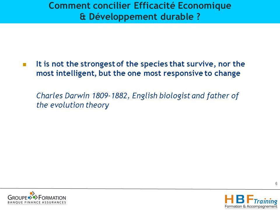 27 Comment concilier Efficacité Economique & Développement durable ?
