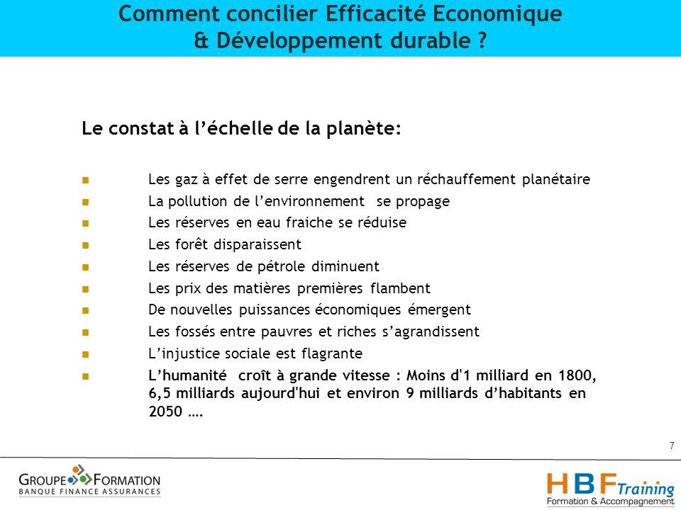 28 Comment concilier Efficacité Economique & Développement durable .