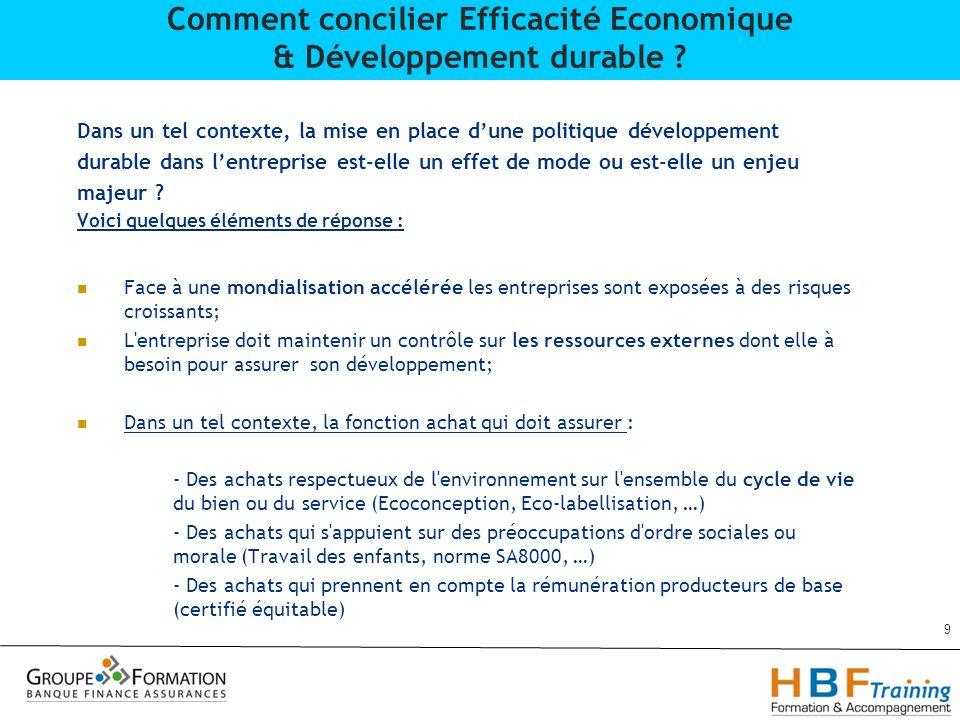 2)Développement de la problématique : Jean Claude Pannekouke & Driss Rhafes 10 Comment concilier Efficacité Economique & Développement durable ?