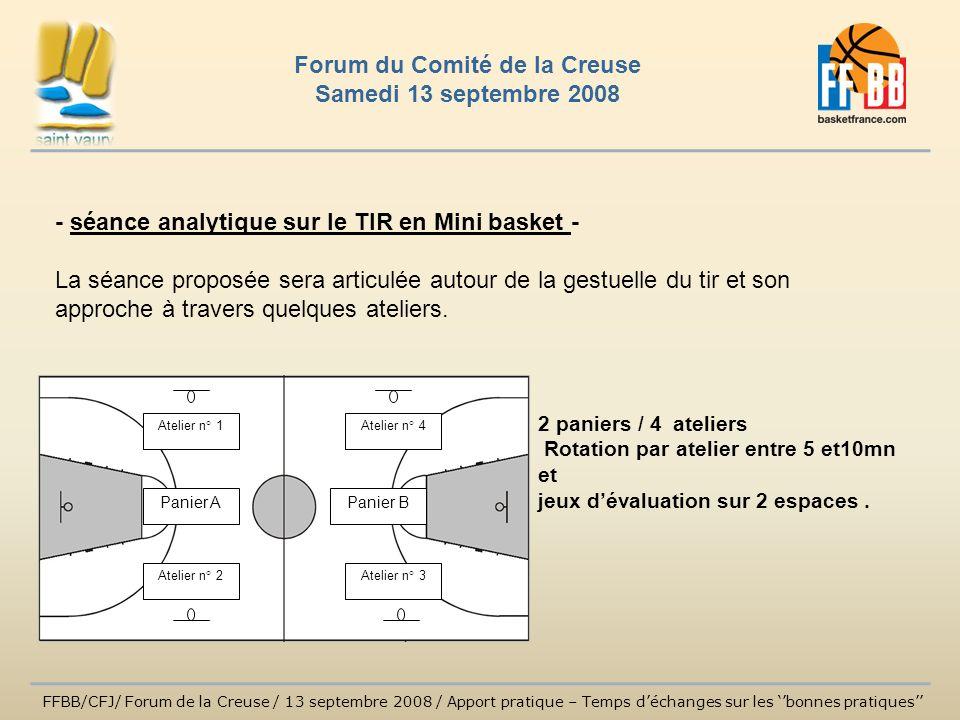 - séance analytique sur le TIR en Mini basket - La séance proposée sera articulée autour de la gestuelle du tir et son approche à travers quelques ate