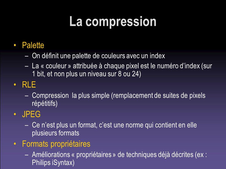 La compression Palette –On définit une palette de couleurs avec un index –La « couleur » attribuée à chaque pixel est le numéro dindex (sur 1 bit, et
