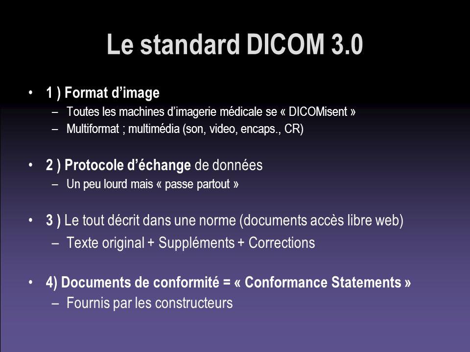 Le standard DICOM 3.0 1 ) Format dimage –Toutes les machines dimagerie médicale se « DICOMisent » –Multiformat ; multimédia (son, video, encaps., CR)
