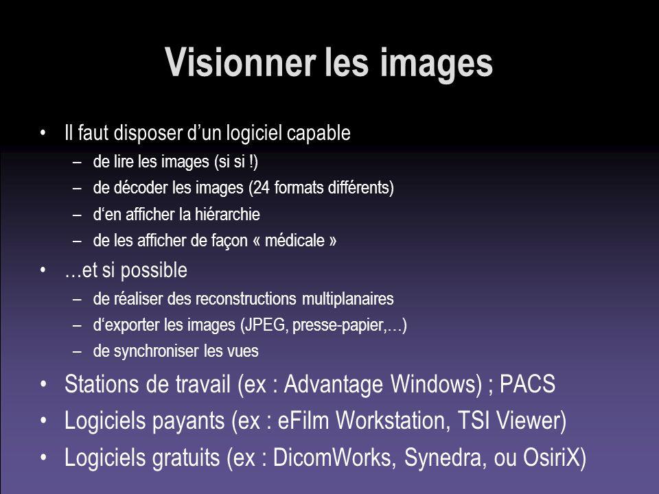 Visionner les images Il faut disposer dun logiciel capable –de lire les images (si si !) –de décoder les images (24 formats différents) –den afficher