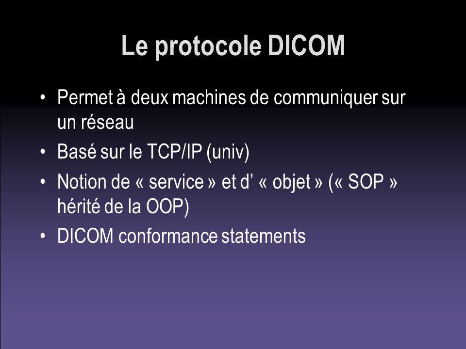 Le protocole DICOM Permet à deux machines de communiquer sur un réseau Basé sur le TCP/IP (univ) Notion de « service » et d « objet » (« SOP » hérité