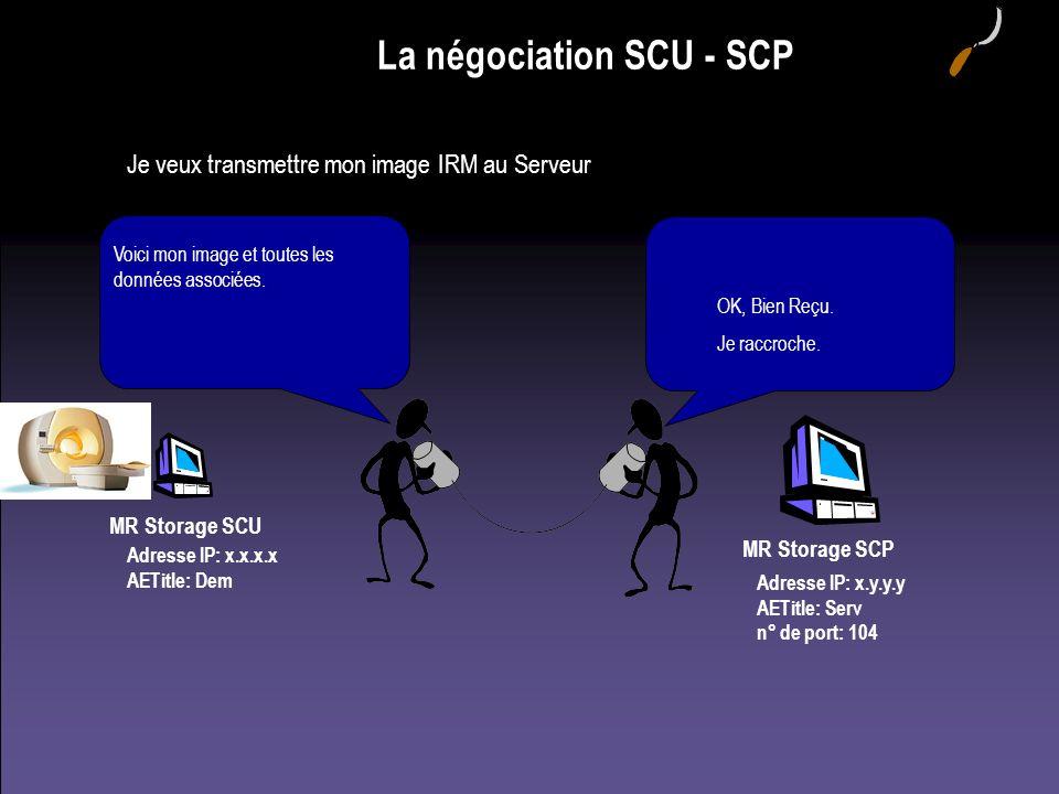 MR Storage SCU Adresse IP: x.x.x.x AETitle: Dem La négociation SCU - SCP Je veux transmettre mon image IRM au Serveur Adresse IP: x.y.y.y AETitle: Ser