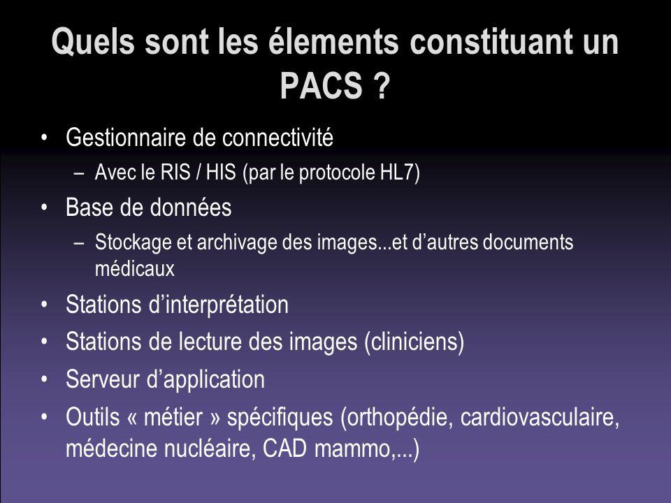 Quels sont les élements constituant un PACS ? Gestionnaire de connectivité –Avec le RIS / HIS (par le protocole HL7) Base de données –Stockage et arch