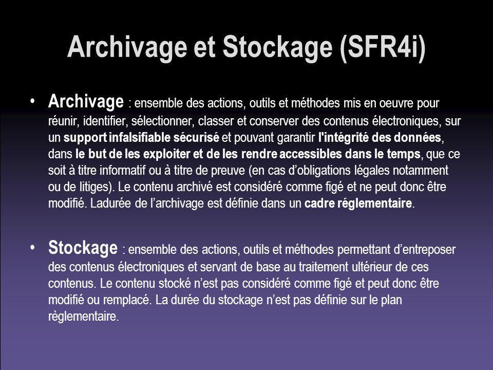 Archivage et Stockage (SFR4i) Archivage : ensemble des actions, outils et méthodes mis en oeuvre pour réunir, identifier, sélectionner, classer et con