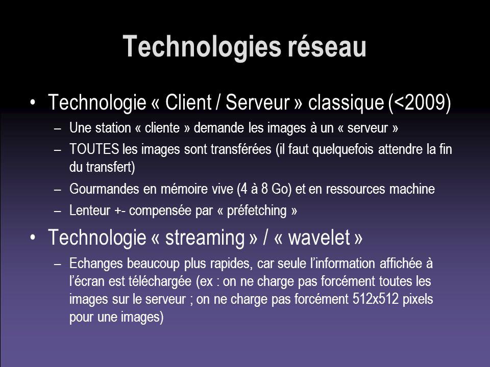 Technologies réseau Technologie « Client / Serveur » classique (<2009) –Une station « cliente » demande les images à un « serveur » –TOUTES les images