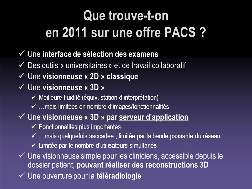 Que trouve-t-on en 2011 sur une offre PACS ? Une interface de sélection des examens Des outils « universitaires » et de travail collaboratif Une visio