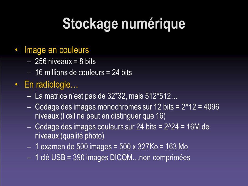 Stockage numérique Image en couleurs –256 niveaux = 8 bits –16 millions de couleurs = 24 bits En radiologie… –La matrice nest pas de 32*32, mais 512*5